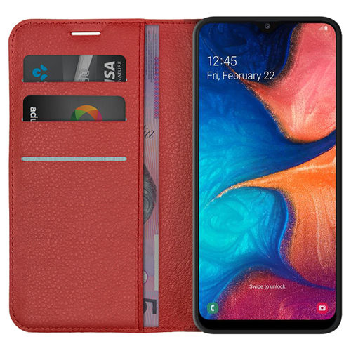 Leather Wallet Case & Card Holder Pouch for Samsung Galaxy A20 / A30 - Red